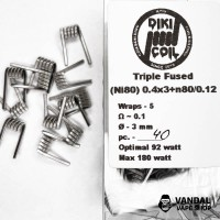 Triple Fused 0.1 Ohm (Ni80) 0.4x3+n80/0.12